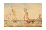 Three Sloops of War and a Fishing Smack Going into Habour, Portsmouth, C.1800-30 Giclee Print by J. M. W. Turner