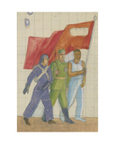 Carrying the Red Banner, 1930s Giclee Print by Natalia Aleksandrovna Gippius