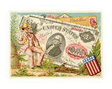 Uncle Sam Seated Beside a One-Dollar Bill, from a Series of Promotional Cards on Currencies in… Giclee Print