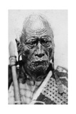 Portrait of a Maori Man, Taraia Ngakuti Te Tumuhuia, with 'Moko' Facial Tattoos, C.1860s Photographic Print by G. W. Bishop