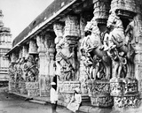 Carved Horse Pillars in Ranganatha Temple, Srirangam, 1869 Photographic Print by Samuel Bourne