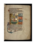 Ms 322 F.67R, Psalm 68, Initial S, Jonah Praying to Christ on His Exit from the Whale and Jonah… Giclee Print by William de Brailes
