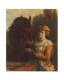 Jacoba Van Beieren with Her Horse Giclee Print by Otto Eerelman