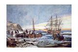 Landing of the Pilgrim Fathers at Plymouth, New England in 1620 Giclee Print by Charles Edward Dixon