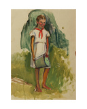 Pioneer Girl with Milk Bucket, 1950s Giclee Print by Natalia Aleksandrovna Gippius