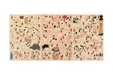 55 Cats Representing the Fifty-Three Stations of the Tokaido Reproduction procédé giclée par Kuniyoshi Utagawa