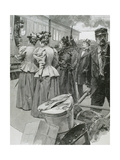 Platform at a Railway Station. Late 19th Century Giclee Print