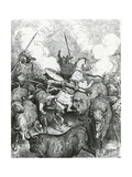 Don Quixote and Sancho in Front of the Bulls. Engraving Lámina giclée