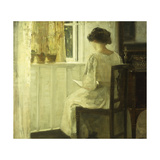 A Woman Reading in a Sunlit Interior Gicléetryck av Carl Holsoe