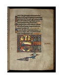 Ms 322 F.97R, Psalm 97, Initial C, Annunciation to the Shepherds, Illustration from the 'De… Giclee Print by William de Brailes