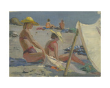 On the Beach in Gurzuf, Black Sea, 1950s Giclee Print by Svetlana Ryazanova
