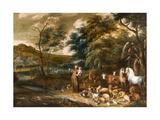 Saint Francis with the Animals Giclée-Druck von Willem van, I and Hondt, Lambert de, I Herp