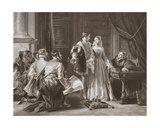 Lady Jane Grey's Reluctance to Accept the Crown, Engraved by A.H. Payne Giclee Print by Charles Robert Leslie