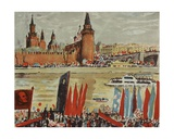 Demonstration on the Moscow River Embankment, 1970s Giclee Print by Natalia Aleksandrovna Gippius