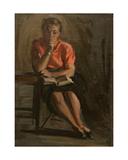 Portrait of a Woman Reading, 1950s Giclee Print by Konstantin Lekomtsev