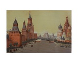 Red Square with St. Basil's Cathedral, 1950s Giclee Print by Natalia Aleksandrovna Gippius