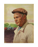 Kolkhoz Man with Tractor, C.1960s Giclee Print by Vadim Petrovich Volikov