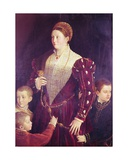 Camilla Gonzaga, Contessa Di San Secondo, with Three Sons, C.1534 Gicleetryck av Parmigianino,