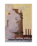 Oil Refinery and Transport Train, C.1960s Giclee Print by Vadim Petrovich Volikov