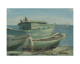 Boats on the Beach, Gurzuf, Black Sea, 1950s Giclee Print by Svetlana Ryazanova