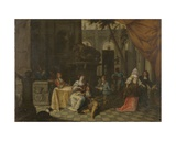 Elegant Company on a Terrace, 1669 Giclee Print by Hieronymus Janssens