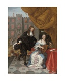 A Gentleman Courting a Lady Music Making in a Courtyard, 1668 Giclee Print by Jacob de Fourmentrou