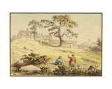 Landscape - Two Figures and a Dog Giclee Print by Anthony Devis