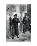 Javert Chasing Valjean, Illustration from 'Les Miserables' by Victor Hugo, Published by J.… Giclee Print by Fortune Louis Meaulle