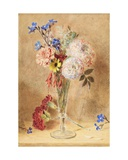 Flowers in a Glass Vase Giclee Print by William Henry Hunt