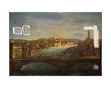 View of Verona with the Church of S. Anastasia, the Castel San Pietro, the Castel San Felice and… Giclee Print by Antonia de dipi Joli