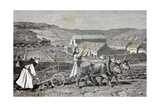 Monks Ploughing the Land with Oxen. Germany Giclee Print