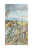 Group of Roman Soldiers with their Leader Pointing Towards to Saint Peter on the Cross, Detail of… Giclee Print by  Michelangelo Buonarroti