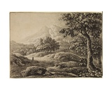 Landscape with Snow-Topped Mountains and Three Figures Giclee Print by Anthony Devis