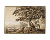 Landscape - Rocky Foreground and Two Figures Giclee Print by Anthony Devis