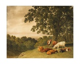 Landscape with Cattle, 1819 Giclee Print by Robert Hills