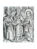 Betrothal of the Virgin. 14 Century Engraving Giclee Print