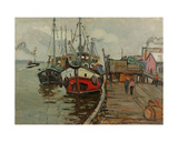 The Harbour in Klaipeda, 1960s Giclee Print by Svetlana Ryazanova