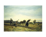 Plowing the Fields, 1877 Giclee Print by Eugene Alexis Girardet