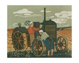 Repairing the Tractor, 1950s Giclee Print by Natalia Aleksandrovna Gippius