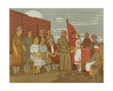 The Female Tractor Brigade Behind the Front in Mordovia in 1942, 1950s Giclee Print by Natalia Aleksandrovna Gippius