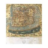 Map of Tenochtitlan. Mexico, 1560. by Alonso De Santa Cruz Impression giclée
