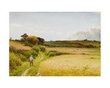 Landscape with Old Man Carrying a Basket, 1886 Giclee Print by Joseph Knight