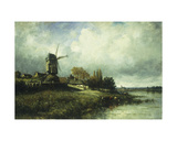 A River Landscape with a Windmill, 1870 Giclee Print by Victor Dupre