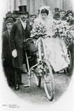Roman Catholic Couple Leaving Notre Dame De France, Leicester Square, on Bicycles Photographic Print