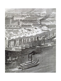 United States. 19th Century. Steam Boats in a Harbor in the Mississippi Riverside Giclee Print