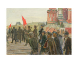 Demonstration on the Red Square, 1930s Giclee Print by Konstantin Lekomtsev