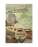 Boats in Gurzuf, Black Sea, 1960s Giclee Print by Svetlana Ryazanova