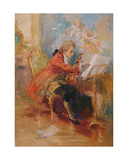 Mozart Playing the Violin Giclee Print by Jean-Louis Ernest Meissonier