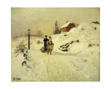 A Horse-Drawn Sleigh in a Winter Landscape Giclee Print by Fritz Thaulow
