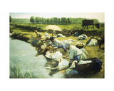 Laundry Women in the Trappes Region Giclee Print by Albert Desire
